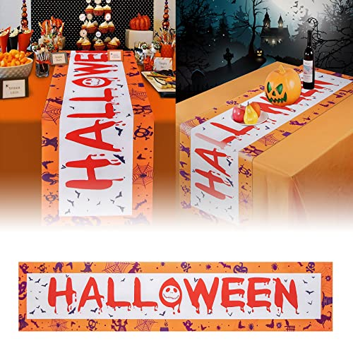 Nieolheoui Halloween Table Runners, Non-Slip Haunted House Table Fabric for Halloween Party Decorations and Scary Movie Nights, 71 x 14 Inch