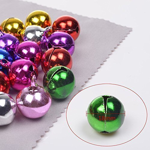 Ellami®various Size Color Quantity Fashion Jingle Bell/ Small Bell/ Mini Bell for DIY Bracelet Anklets Necklace Knitting/jewelry Making Accessories (40pcs 18mm Random Color)
