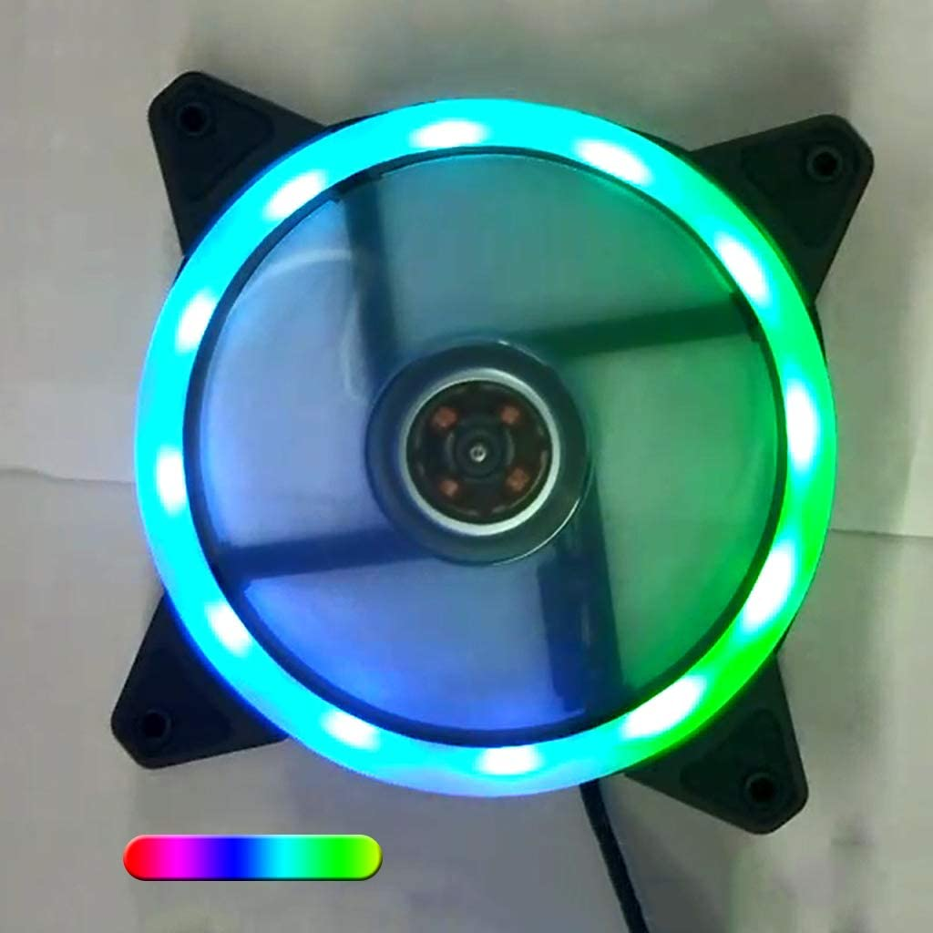 Dinfoger-Fan 12025 DC 12V 0.2A Streamer Cooling Fan Silent Fan with Colorful Light for Home Room Office Supplies with Multicolor
