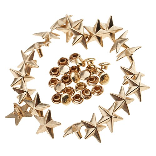MagiDeal 20 Piece Metal Star Shape Rivets Punk Studs Spikes Fasteners for Leather Belt Bag 13mm - (Gold Star Button)