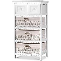 Artiss Storage Cabinet Dresser Chest 2 Drawers Bedroom 3 Basket Wood Entry Table Bedside Table