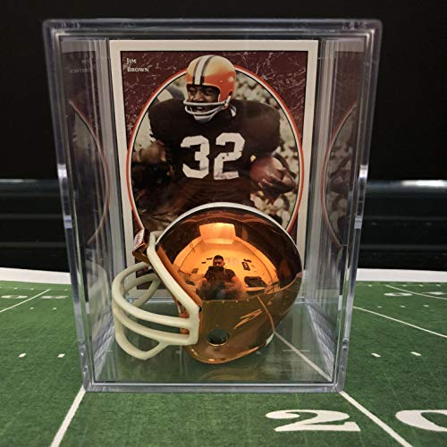 Chrome Edition Cleveland Browns NFL Helmet Shadowbox w/Jim Brown card ()