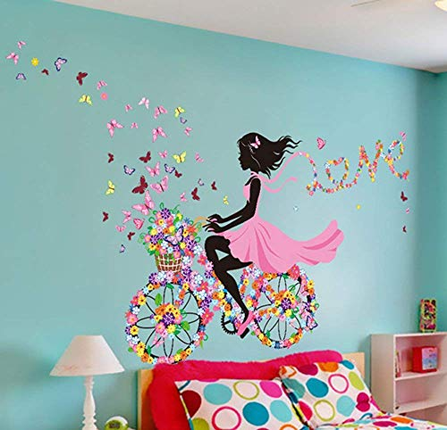 SWORNA Nature Series SN049 Flower Butterfly Girl on Bicycle Removable Vinyl DIY Wall Art Mural Sticker Decal Decor for Living Room/Bedroom/Playroom/Hallway/Kindergarten/Home Office/School 28