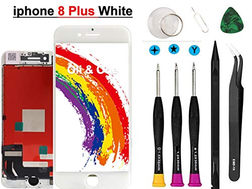 Oli & Ode Compatible with iPhone 8 Plus Screen Replacement (5.5 Inch White), LCD Digitizer Touch Screen Assembly Set with 3D Touch, Repair Tools and Replacement Manual Includ (8 Plus White)