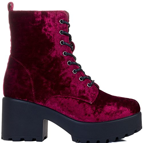 Heel Sole Cleated Block Velvet Spylovebuy Shotgun Boots Style Wine Red up Ankle Platform Lace w1EqxIxp