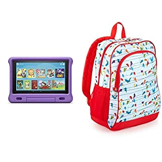 Fire HD 10 Kids Tablet 32GB Purple with Amazon Exclusive Kids Tablet Backpack, Birds