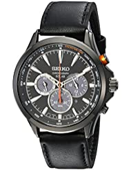 Seiko Mens SOLAR CHRONOGRAPH Quartz Stainless Steel and Leather Casual Watch, Color:Black (Model: SSC639)