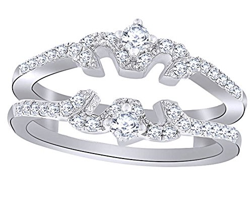 Round Cut White Natural Diamond Butterfly Collar Bridal Set in 10K White Sold Gold (0.10 Cttw)