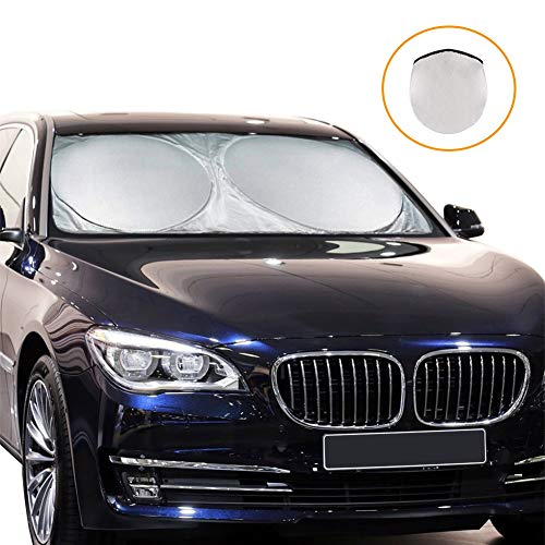 Car Windshield Sun Shade - Maximum UV and Sun Protection - Foldable Car Front Window Sunshade Keep Your Vehicle Cool and Damage Free, Fits Windshields of Various Sizes (Standard 59 x 27.55 inches) (Best Car Windscreen Sun Shade)