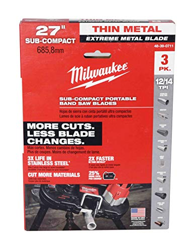 Milwaukee 48-39-0711 27″ 18-Tpi Extreme Thin Metal Subcompact Bandsaw Blades 3 pack preplaces 48-39-0572