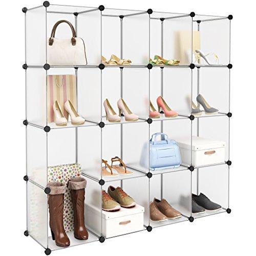 LANGRIA 16-Cube Modular Clothes Shelving Storage Organizer DIY Plastic Shoe Rack Cabinet Translucent White