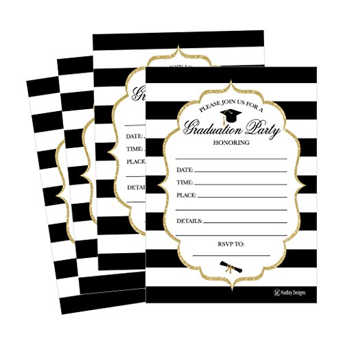 (25 Elegant Graduation Party Announcement Invitations For 2018 College, High School, University Grad Celebration Invite Cards, Black Gold Fill In Invitations For Graduation Party Decorations)