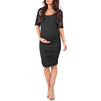 c9cafd7bba661 Amazon.com: Maternity Dress,Women Short Sleeves Bodycon O Neck Midi Party Maternity  Dress Soft Pregnant Dress Hemlock (S, Black): Cell Phones & Accessories