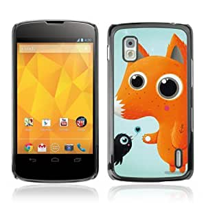 Designer Depo Hard Protection Case for LG Nexus 4 E960 / Cute fox & Bird