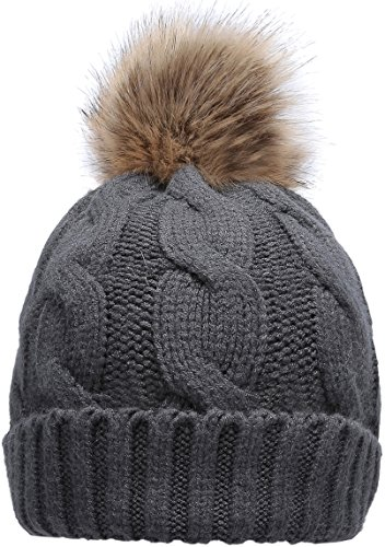 NEOSAN Women's Winter Ribbed Knit Faux Fur Pompoms Chunky Lined Beanie Hats Twist Charcoal ()