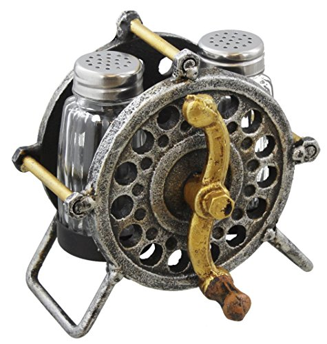 Rustic Metal Fishing Reel Salt & Pepper Shaker Set - Fly Fish Bass Trout Gift