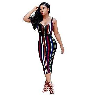 WINWINTOM Woman Bodycon Pack Hip Dress Choker V Neck Sleeveless Dresses Mini Sundresses (Multicolor,