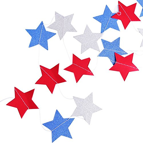 BELA SEASONAL PRODUCTS Star Garland Party Decorations (Patriotic) Red, White, and Blue Decorative Hanging Décor | Celebrate Birthday PJulyarties, Fourth of , American Holiday Streamers, 4 P