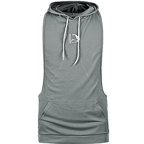 HASIDING Dri Fit Contrast Front Pocket Stringer Gym Hoodie for Men Racerback Tanks Grey ()