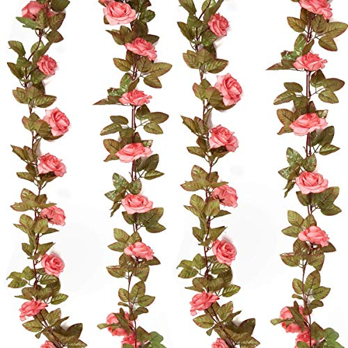 HEBE 4PCS (29.8 FT) Artificial Rose Vine Garland Silk Fake Rose Flowers Garland Artificial Hanging Plants for Home Hotel Office Wedding Party Garden Decor, Pink