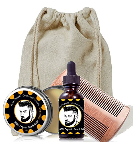 Beard Gift Set – All-In-One Beard Care Kit with two sided Wooden Beard/Hair Comb, Beard Balm (Clasic)& Beard Oil both 100% organic- in Canvas bag – men's grooming Review