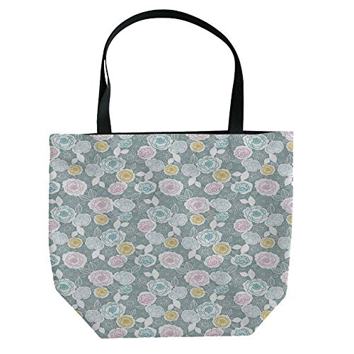 (iPrint Hand Canvas Bag Shoulder Bag,Pastel,Peonies Daisies Tulips Colorful Doodle Style Cute Botanical Garden with Heart Shapes Decorative,Multicolor,3D Print Design.)