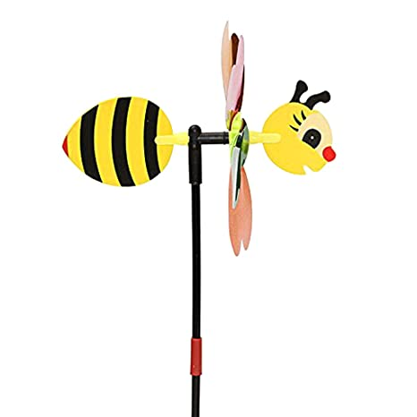 Whitleys 68cm Lifelike Bee Windmill Wind Whirligig Wheel Home Garden Lawn Yard Decor Kids Toy