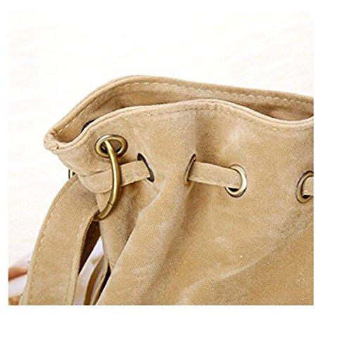 Beige Huasen Lady Tassel Vintage Shoulder Bag Handbag Bucket Bag