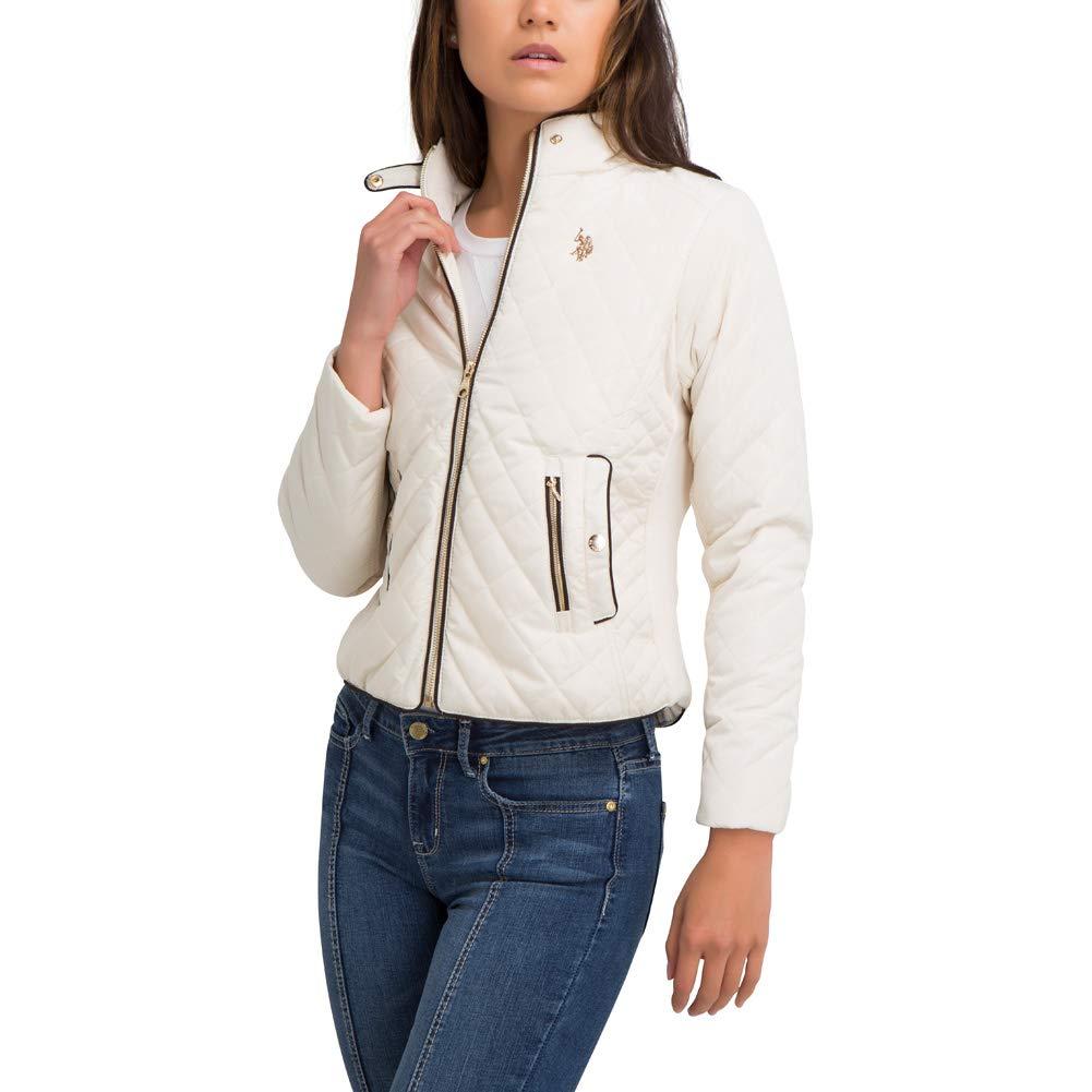 U.S. Polo Assn. Womens Quilted Side Knit Midweight Jacket - Marshmallow White, Large Jordache Enterprises Inc. 18265-MRSHL