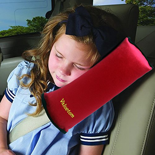 Valuetom Seatbelt Headrest Pillow Cover Shoulder Pad Comfy Support Car Pillow for Kids(Red) (Baby Cries In Car Seat While Driving)