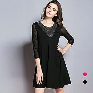 ZHUDJ Vestido De Manga Larga _ Gasa Vestidos Sueltos,Negro,S