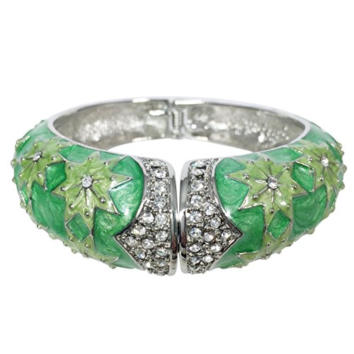 Silver Tone Colorful Epoxy - Green Tones Star Pattern Rhinestone Crystal Silver Tone Hinged Bangle Bracelet