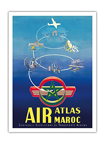 Air Atlas Maroc   Morocco   Vintage Airline Travel Poster By G  Debureau C 1954   Premium 290Gsm Gicl E Art Print 12In X 16In