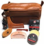 Beard Grooming Doppler Kit- Travel Bag Includes Boar Bristle Beard Brush, Beard Shaping Template, Mustache Comb, Wood Beard Comb with Sandalwood Beard Balm & Oil