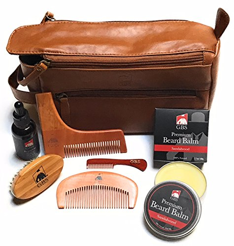 Price comparison product image Beard Grooming Doppler Kit- Travel Bag Includes Boar Bristle Beard Brush, Beard Shaping Template, Mustache Comb, Wood Beard Comb with Sandalwood Beard Balm & Oil