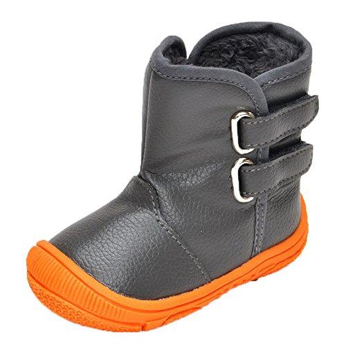 JILIGUALA Unisex Baby Waterproof PU Leather Boot Soft Cozy Rubber Sole Anti-Slip Warm Winter Prewalker Toddler Snow Boots