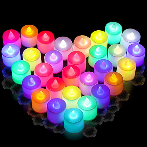 CHolic 24 PCS LED Tea Lights, Color Changing Flameless Tea Light Candles Battery Operated with 300 PCS Black Artificial Silk Rose Petals for Seasonal & Festival Celebration Party Decor