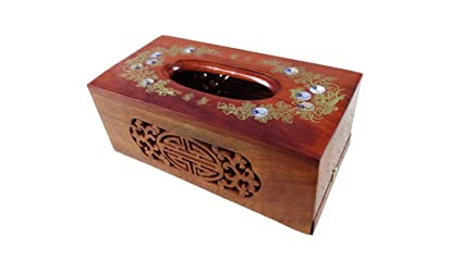 Restbuy Wood Tissue Box Cover Holder Dispenser Kleenex Tissue for Office Bathroom Kitchen Table