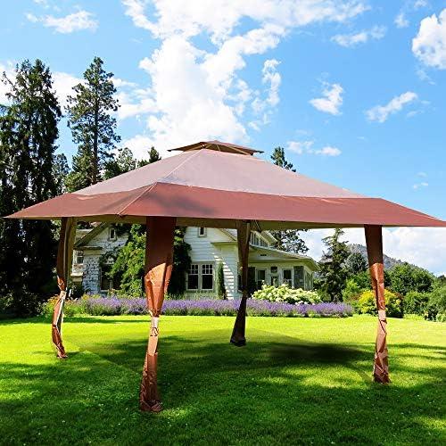 CMP, toldo para jardín o Patio, Doble Techo, fácil de Instalar, para Fiestas, Eventos, Color marrón: Amazon.es: Jardín