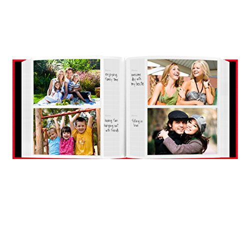 Fabric Frame Cover Photo Album 200 Pockets Hold 4x6 Photos, Apple Red