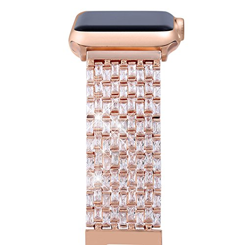 Apple Watch Band, FresherAcc Luxury Zircon Stones Replacement Strap for iWatch All Series Crystal Rhinestone Diamond Watch Bracelet Wristband Stainless Steel Band (38MM Rose Gold) from FresherAcc