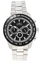 Invicta Men's Speedway Steel Bracelet & Case Quartz Black Dial Analog Watch 21796