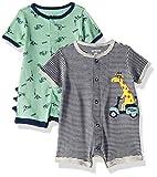 Carter's Baby Boys 2-Pack Snap Up Romper, Giraffe/Dinosaur 12 Months