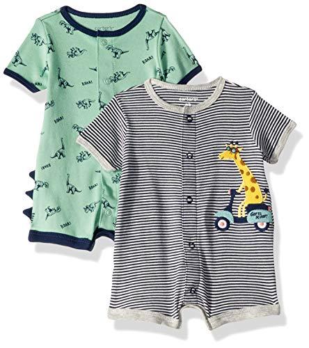 (Carter's Baby Boys 2-Pack Snap-up Romper, Giraffe/Dinosaur, 3)