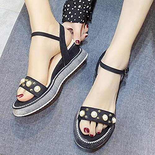 Orangeskycn Women Sandals Summer Wild Platform Bottom Retro Roman Strappy Sandals Pearl Wedge Open Toe Casual Shoes Black by Orangeskycn Women Sandals (Image #5)