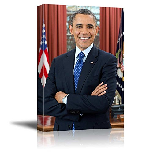 (Portrait of President Barack Obama - Inspirational Famous People Series | Giclee Print Canvas Wall Art. Ready to Hang - 16