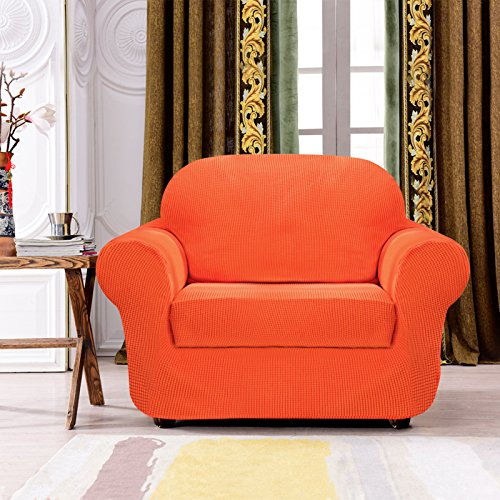 Subrtex 2-Piece Spandex Stretch Sofa Slipcover (Chair, Orange)