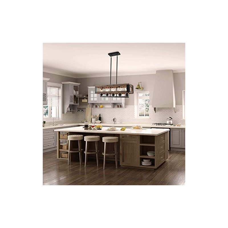 LALUZ Farmhouse Chandelier, 5-Light Kitchen Island Lighting with Clear Glass, Wood and Black Finish, 32 Inches