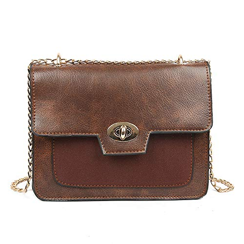 Anxinke Ladies Fashion Flap Over Hasp Leather Chain Bags (Coffee)