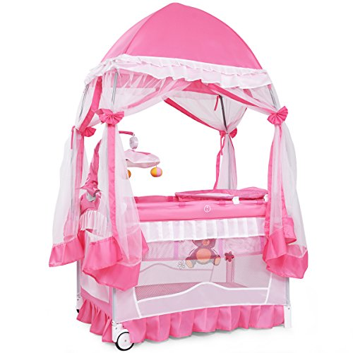 BABY JOY Portable Playard, 4 in 1 Convertible Baby Playpen with Changing Table, Mesh Net, Foldable Bassinet Bed with Music Box, Cute Whirling Toys, Wheels Brake, Oxford Carry Bag, Pink 32 in
